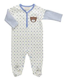 Look what I found on #zulily! White & Blue Stripe Bear Footie #zulilyfinds