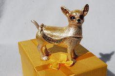 SWAROVSKI CRYSTAL BEJEWELED ENAMEL HINGED TRINKET BOX - CHIHUAHUA (DOG)