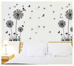 Butterflies Flying In Dandelion Wall Stickers Home Decor Living Room Bedroom Wall Decals Art Decorative Stickers Muraux