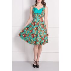 Turquoise Floral Print Party Dress with Sweetheart Neckline