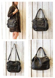 "Handmade Italian Black Leather Messenger Bag ""MULTI TASC 14"" di LaSellerieLimited su Etsy"