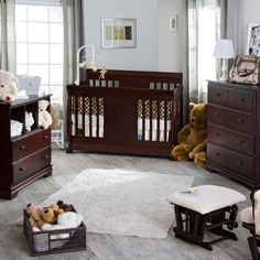 Stunning Baby Room Design Ideas Pushing Brown Varnishes Mahogany Baby Cribs With Brown Lacquer Desk Of Drawers On Natural White Solid Wood Floor As Well As Furniture Stores Also Clearance Bedroom Furniture of Cute Lovely Nursery Furniture Design For Your Beloved Baby from Furniture Ideas