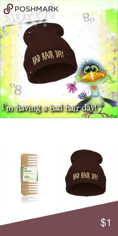 """""""Bad Hair Day"""" Beanie & The TBS Detangling Comb ⚠️Gotta Comb.....? ⚠️ Chocolate in color; letter graphic detail on front; cotton blend➕ The Body Shop Detangling Wooden Hair Comb - wide-tooth➕Eye-It...Buy-It! Fashion/The Body Shop Accessories"""