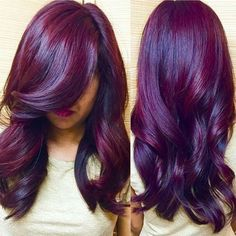Beautiful hair color, grow hair, burgundy hair, purple hair, hair d Beautiful Hair Color, Beautiful Beautiful, Gorgeous Makeup, Natural Hair Styles, Long Hair Styles, Dream Hair, Love Hair, Grow Hair, Pretty Hairstyles
