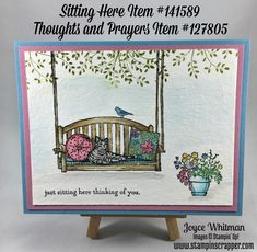 Sitting Here and Thoughts and Prayer stamp sets from Stampin' Up! were used to make this watercolor card.