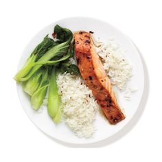 Spicy Salmon With Bok Choy and Rice ❤ liked on Polyvore featuring food, fillers, food and drink, food & drink, comidas, circle, circular and round