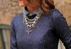 Penny Pincher Fashion rocks double sparkle with our Somervell Necklace #stelladot #statementkette #lagenlook #layering