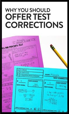 Test corrections are a great tools for pushing students and measuring their progress. Why you should offer test corrections in your class! Middle School Writing, Middle School Classroom, Math Classroom, High School, Classroom Ideas, Spanish Classroom, School Fun, School Ideas, Teaching Strategies