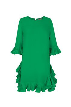 Vestido verde trapecio TERIA YABAR Otoño Invierno 2019 2020 Bell Sleeves, Bell Sleeve Top, Ruffle Blouse, Tunic Tops, How To Make, Things To Sell, Women, Fashion, Green Dress