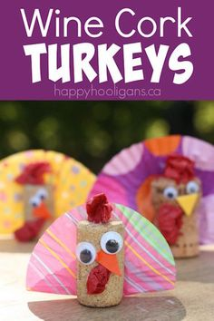 Cork Turkey craft. A cute Thanksgiving craft from corks and cupcake liners