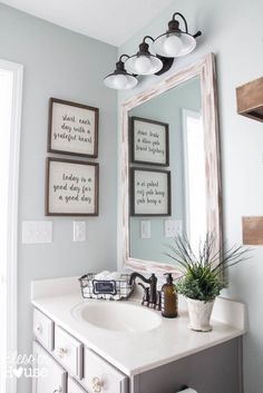 Love the 2 framed quotes in the bathroom from Bless'er House. The Trick to Get Designer Paint Colors on the Cheap