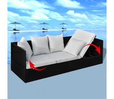Liggestol / sofa i rattan sort