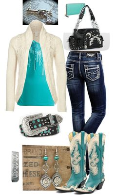 Turquoise and Cream, love the boots! Casual Dress Outfits, Cowgirl Outfits, Summer Dress Outfits, Western Outfits, Western Wear, Sexy Outfits, Cool Outfits, Fashion Outfits, Womens Fashion