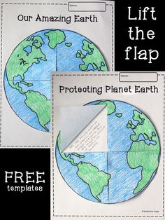 FREE lift-the-flap Earth template printable. Perfect to use for Earth Day or in a study of the solar system. Pie, Chart, Diagram, Torte, Pastel, Tart, Fruit Tarts, Pies, Pot Pie