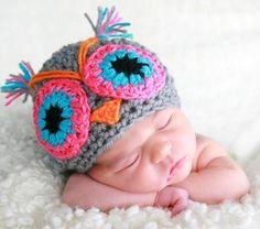 Crochet owl handmade  Hat Camila   Newborn to 10 by NattyHatty
