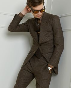 7ca66d188fa4 Brown prince of wales atticus jacket. Tom Ford Online Store