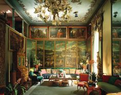 Interiors from american designer Tony Duquette  with many rococo influences such as French Louis Chairs