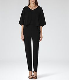 Bonnie Black Double-layer Jumpsuit - REISS