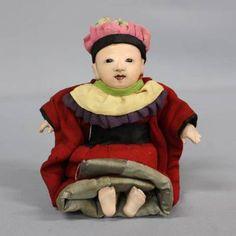 即決!◆ 明治 豆抱き人形 19cm No.2◆ 豆市松人形 ミニチュア
