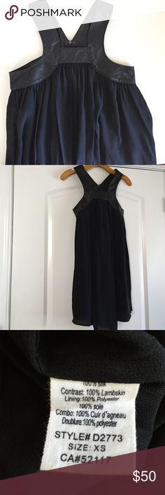 Leather Trapeeze Dress Made of 100% Silk and Lamb Skin Leather. Liner for additional coverage. Zip back. Brand new with tags. Funktional Dresses Mini