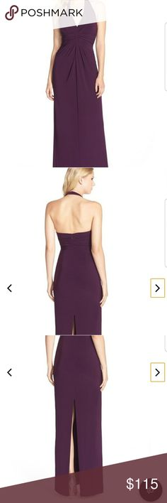 Adrianna papell ruched jersey dress Dark purple Halter top Shows back Slit in the back  Altered from the neck  I'm 5'2 wore with 2 inch heels Good condition ✔ Any questions let me know 😊 Adrianna Papell Dresses Backless
