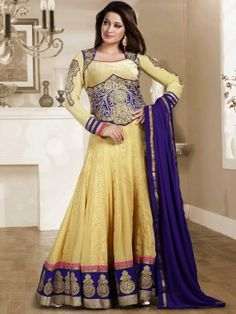 Yellow And Blue Georgette Anarkali Suit With Resham And Zari Embroidery Work www.saree.com