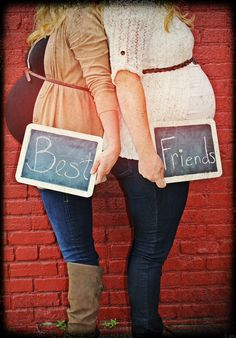 Maternity pics with friend- too cute! I have so many prego friends and family members we could make this work