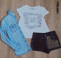#SreetStyle  ⚫ Camisa jean ⚫ T Shirt Bershka ⚫ Short cuerina