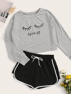 Letter & Eyelash Print PJ Set Check out this Letter & Eyelash Print PJ Set on Shein and explore more to meet your fashion needs! Cute Lazy Outfits, Teenage Girl Outfits, Outfits For Teens, Stylish Outfits, Girls Fashion Clothes, Teen Fashion Outfits, Mode Outfits, Gothic Fashion, Cute Pajama Sets