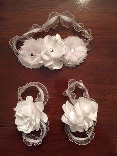 Baby headband and barefoot sandal package. Crib shoes, barefoot baby sandal. White gem flowers. Elegant headband by CreationsbySAHM on Etsy https://www.etsy.com/listing/226630492/baby-headband-and-barefoot-sandal