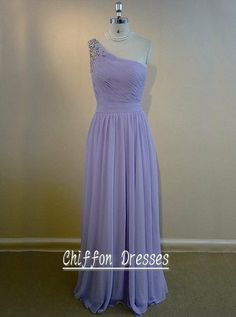$100~  One Shoulder Long Prom Dress With Waistband, Chiffon Bridesmaid Dress Long, Lavender Color Party Dress, Evening Dress