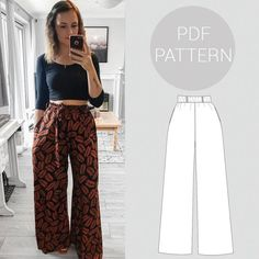diy fashion Womens high waisted, wide leg trousers, elasticated waist and pockets Sewing Stitches, Sewing Patterns Free, Clothing Patterns, Pattern Sewing, Sewing Paterns, Dress Patterns, Romper Pattern, Pattern Drafting, Jumpsuit Sewing Pattern