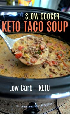 This Easy Slow Cooker Keto Taco Soup is Perfect for Fall!You can find Keto soup and more on our website.This Easy Slow Cooker Keto Taco Soup is Perfect for Fall! Keto Meal Plan, Diet Meal Plans, Meal Prep, Food Prep, Cena Keto, Keto Taco, Low Carb Taco Soup, Easy Taco Soup, Low Carb Chili