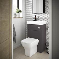 SHOP the Brooklyn Grey Avola Combined Wash Basin & Toilet at Victorian Plumbing UK Small Downstairs Toilet, Small Toilet Room, Downstairs Bathroom, Small Toilet Design, Cloakroom Toilet Downstairs Loo, Pool Bathroom, Office Bathroom, Washroom, Grey Toilet