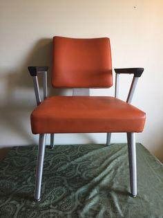 Mid Century Modern Arm Chair Orange MCM General Fireproofing Co., Aluminum Vinyl #MidCenturyModern #Goodform