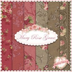 "Mary Rose Grace  6 FQ Set by Quilt Gate Fabrics: Mary Rose Grace is a shabby style collection from Quilt Gate Fabrics.  100% cotton.  This set contains 6 fat quarters, each measuring approximately 18"" x 21""."
