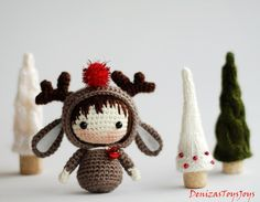 Christmas Deer Doll.   pdf crochet pattern. Tanoshi by deniza17