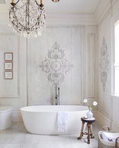 Home design and interior decorating is what VERANDA magazine is all about. French Bathroom, Modern Bathroom, Master Bathroom, Parisian Bathroom, Master Bedrooms, White Bathroom, Bathroom Faucets, Bathroom Wall, Bathroom Storage