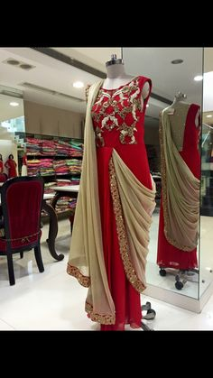 Saree style draped gown in red and golden