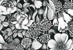Blüten-Meer in schwarz-weiß ein Hingucker für die Wände