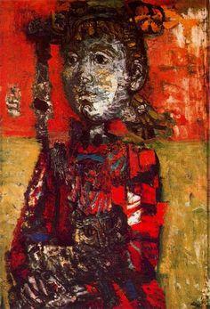 "Antoni Clavé Sanmartí (1813 - 2005). ""Fillete en rouge, 1953"". Óleo sobre tela. 73 x 50 cm. Colección Max Kaganovitch. París Francia."