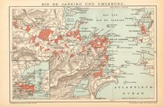 1895 Antique Map of Rio de Janeiro and its by CabinetOfTreasures