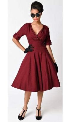 Unique Vintage 1950s Style Burgundy Red Delores Swing Dress