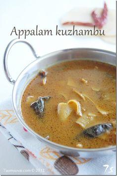 7aum Suvai: Appalam kuzhambu