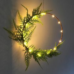 Copper fern LED wreath fairy lights copper hoop fern wreath
