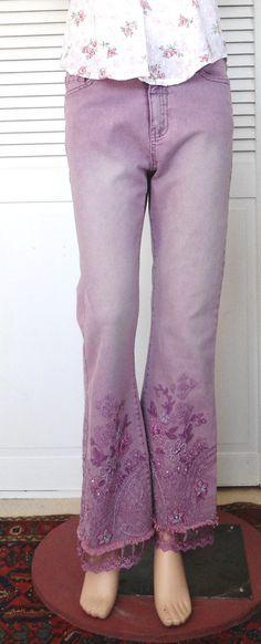 Purple Hippie Jeans Size 6 Womens Beaded Lace by LandofBridget