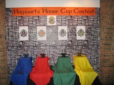 """This library had a party for the last Harry Potter book. I think it looks SO MUCH cooler than the one I attended at Barnes and Noble. Going to use a House Cup system as my """"token economy."""" Ten points to me for using teacher jargon!"""