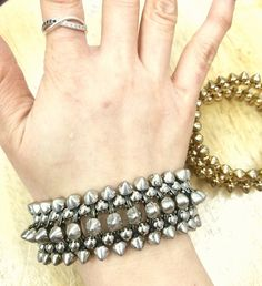 Fashion Jewelry, Trendy Jewelry, Inexpensive Jewelry, Jewelry, Bracelet, Stretch Bracelet, Punk Fashion, Goth Fashion, Rocker Fashion, Spike Bracelet