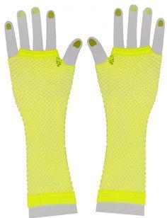 <p>Mit diesen fingerlosen neon gelben Netzhandschuhen runden Sie ihr 80er Jahre Outfit so richtig ab.</p> <p>Farbe: neon gelb</p> <p>Lieferumfang: 1 Paar Handschuhe</p> <p>Material: 100% Polyester</p>