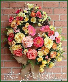XXL Coral Peach Yellow Rose & Poppy Garden Wreath, Large Summer, Mothers Day
